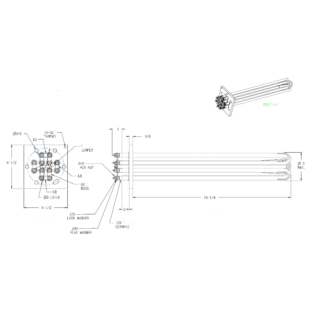 20kw 480v 3ph 1625l 4 1 2 Flange Equivalent Replacement Element Midget Boilers Wiring Diagram 300444h Dwg